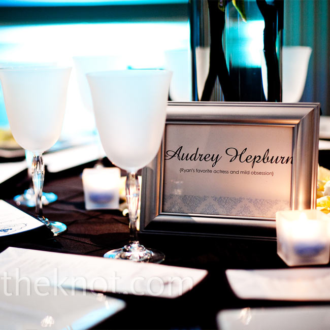 For a personal touch, Ryan and Griff named their tables after places and things that held meaning to them: the bar where they first met, cities that they'd travelled to together and, of course, Ryan's personal heroine: Audrey Hepburn.