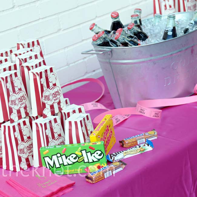 In addition to cake, guests enjoyed a candy bar, Italian gelato, and decadent macaroons.