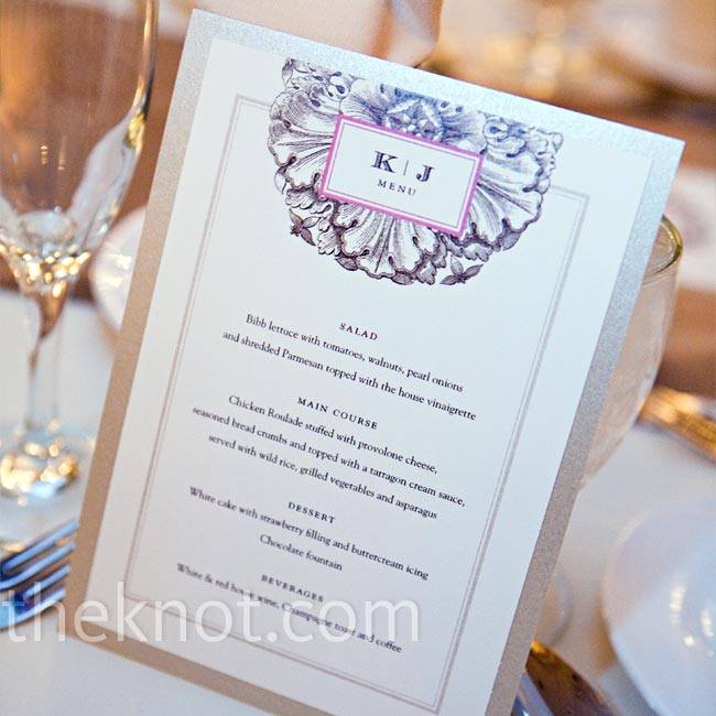 At each place setting, guests found a menu designed by one of Kelly's bridesmaids that incorporated design elements from the programs and table numbers. Printed on linen paper with pink and brown ink, each was mounted on champagne-hued card stock.