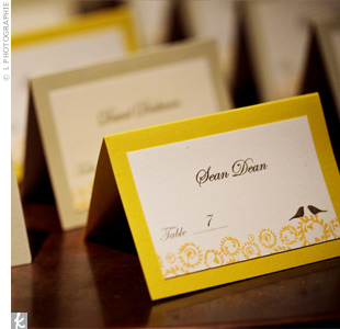 Yellow Escort Cards