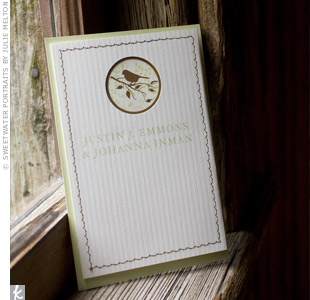 Johanna made the programs to match the invitations and escort cards. She used green and ivory paper, stitched the covers with brown thread and added a decorative image of a bird.