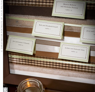 Johanna made all the wedding day stationery, including the escort cards. She printed the text on her home printer and mended a brown zigzag with a sewing machine. To display the cards, she and Justin bought oversize wooden frames, spray-painted them brown and wrapped the inside panel with different brown and green ribbons. They then hung the cards  ...