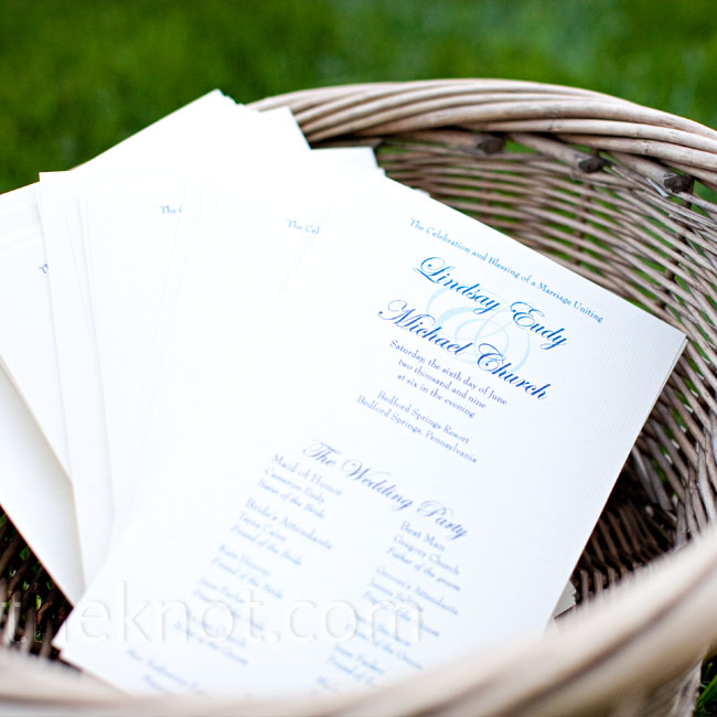 Lindsay and Michael printed their ceremony programs on white sheets of paper with a design that mimicked the Bedford logo that they put on their invitations.