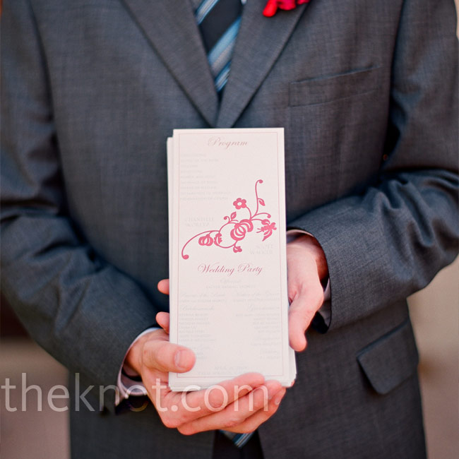 The design on the programs matched that of the save-the-date cards—whimsical vines with a few flowers. Chantelle worked with the stationer to tweak the design to her taste.