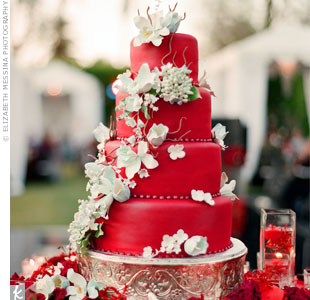 Instead of anything traditional, Chantelle and Scott went with a red cake that perfectly fit with the wedding decor. Light-blue sugar flowers cascaded down the tiers for a whimsical look.
