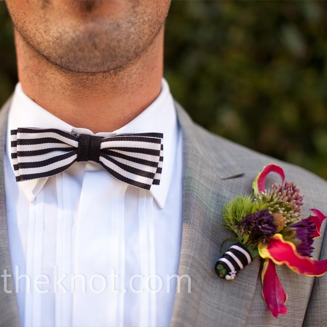 Mary designed Stefan's boutonniere and had it made at Monaco Couture along with her dress. The fiery gloriosa lily in Stefan's boutonniere popped against his gray suit.