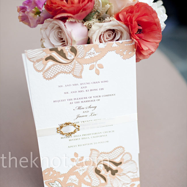To set the tone for their wedding, Min and Jason picked a pale-pink floral design with gold accents. They had two versions of invitations for two receptions. The first was for guests of their parents, in a banquet hall at the church right after the ceremony, with typical Korean foods and traditions; and the second was later that day for friends and ...