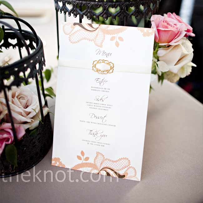 Dinner options were listed on cardstock menu cards designed to look similar to the invitations, keeping things consistent.