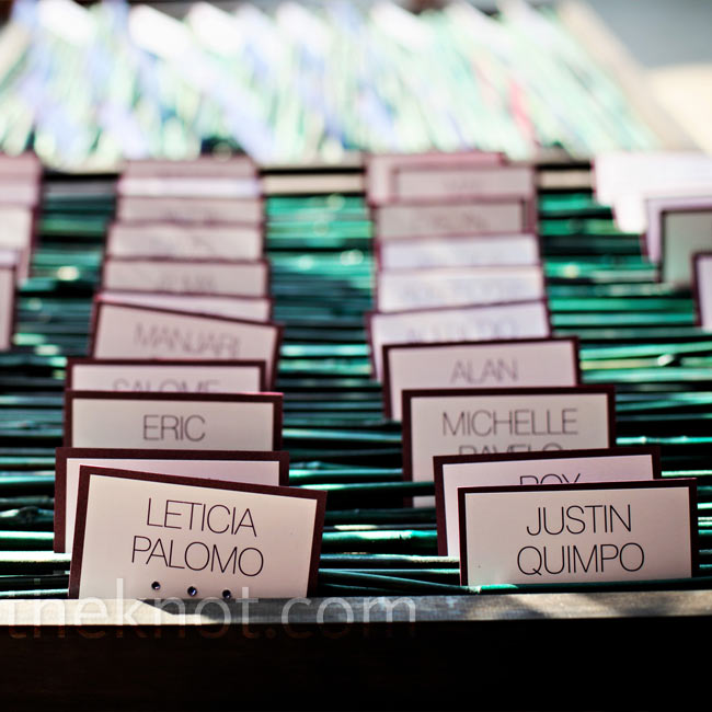 Theresa and Ken printed guests' names on rectangular cardstock. They applied Swarovski crystals to each card to indicate guests' entree choice. For the display, Ken built four wooden boxes and stained them ebony. Inside, he set down pieces of green bamboo as a bed to hold the escort cards upright.