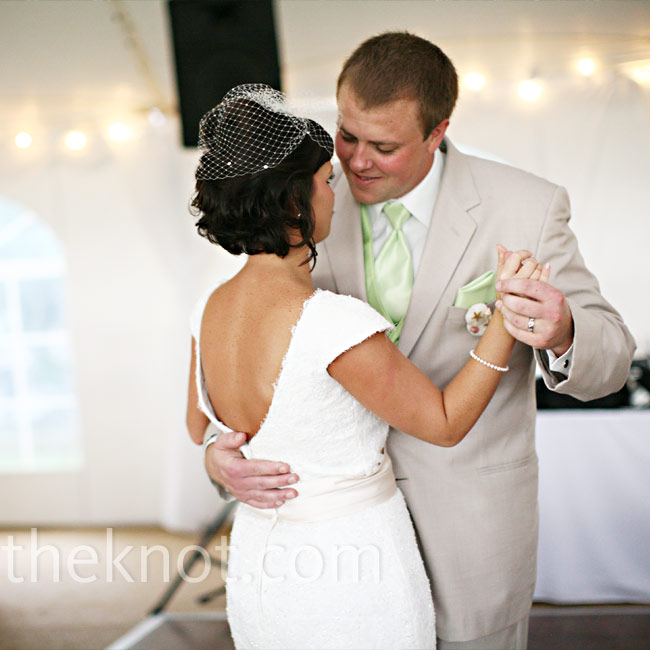 "The couple took their first spin across the dance floor to ""Lucky,"" by Colbie Callait. ""It describes our love for each other and it sounds beachy,"" says Deanne."