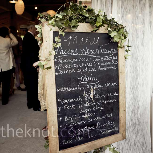 The traditional southern fare menu was displayed on large, ivy-draped chalkboards for the guests.