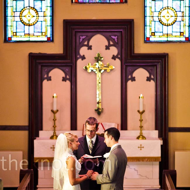 "Rebecca and Will exchanged vows in a traditional church ceremony, with the sun streaming through the stained glass windows. ""It did not disappoint our 'Your Are My Sunshine' theme,"" says the bride."