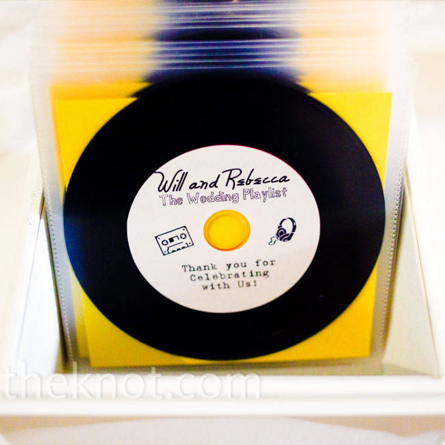 "To incorporate their love of music into their favors, Rebecca and Will gave out mix CDs of their favorite songs. ""They looked like mini vinyl records!"" says the bride."