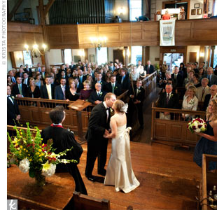 "After Anne's father walked her down the aisle to an organ version of Paul McCartney's ""Maybe I'm Amazed,"" the couple exchanged traditional vows and sealed the deal with the expected kiss."