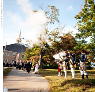 Militiamen dressed in revolutionary war uniforms greeted guests as they arrived at Old Ship Church in Hingham, which was built in 1681.