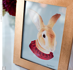 Framed animal prints from Etsy sat next to centerpieces with the same types of flowers as the bride's bouquet. New England favorites, such as grilled mussels, clam chowder, and corn on the cob, waited for guests at the cocktail hour and buffet-style dinner.
