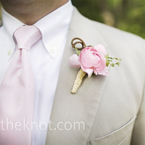 Pink Wedding Boutonniere