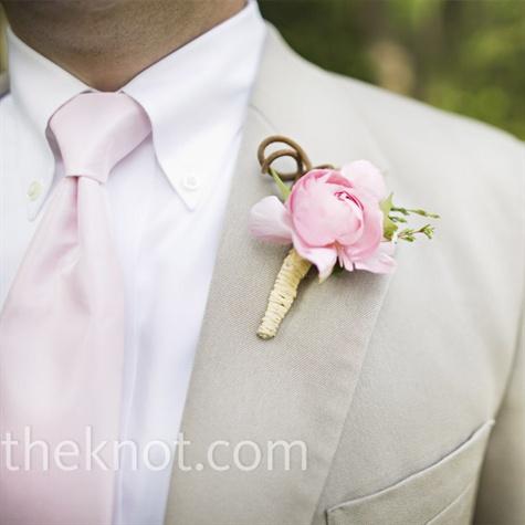 Pink Wedding Boutonniere