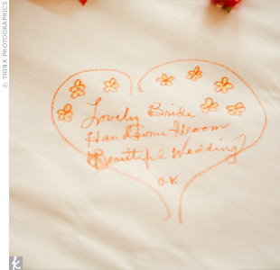 One of Laura and Josh's guests left this message for them on the butcher-paper tablecloths at the reception. The couple had their photographer take pictures of as many messages as possible!