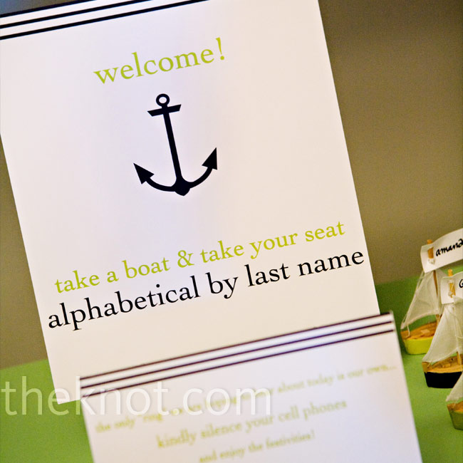 Amanda stayed consistent, printing navy blue stripes and an anchor on her note instructing guests to pick up their escort cards.