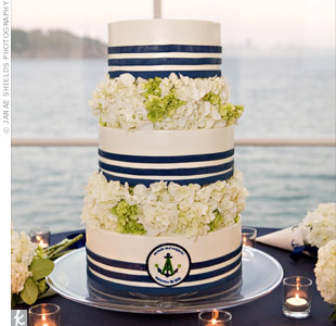 Clusters of fresh hydrangeas separated the cake's three tiers, which were trimmed with marzipan to mimic the grosgrain ribbon in the décor. The baker even recreated the couple's logo in edible form!