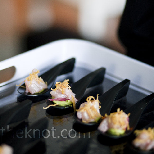 """Guests at the celebration raved over the food, which included a spoon of citrus-marinated Kona Kanpachi atop spicy avocado mousse and a crisp wonton """"nest."""""""