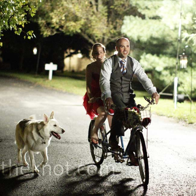 Because Michael is a competitive cyclist, bicycles are a big part of the couple's life. The day before the wedding, they located an antique tandem bicycle and had it delivered to the reception. The newlyweds pedaled away through a shower of eucalyptus leaves tossed by their guests.