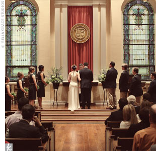 "For their wedding ceremony in the Transylvania campus chapel in the Old Morrison building, Catherine and Tom recited traditional vows with one twist: Tom's sister recited the lyrics to Catherine's favorite song, ""In My Life"" by the Beatles. Tom's grandmother was so moved, she asked Tom's sister if she had written the song!"