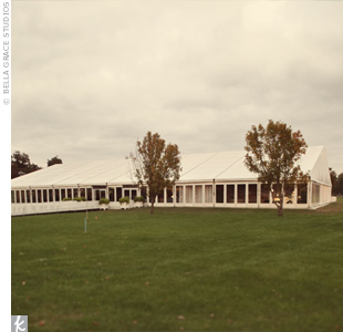 To offset the enormity of their reception space, Catherine and Tom divided the Grand Pavilion tent into two areas: the left side for the cocktail hour (which included a bluegrass band performance) and the right side for dinner and dancing overlooking the polo fields of the Kentucky Horse Park.