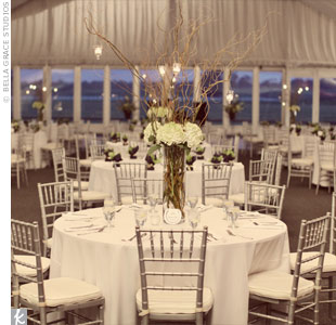 A quarter of the reception tables were topped with tall centerpieces comprised of green hydrangea and tall willow branches with hanging votives.
