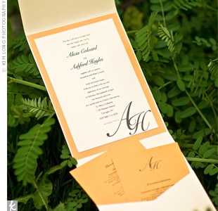 Alicia's sister is a graphic designer and created the wedding invitations and ceremony programs with a simple monogram motif.