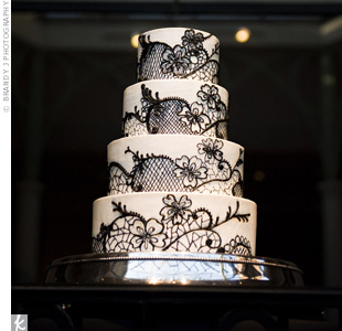Lindsay and Steve's stunning ivory buttercream cake with a black lace design not only inspired the dynamic details of their wedding stationery, it was also Lindsay's favorite detail of the whole wedding.