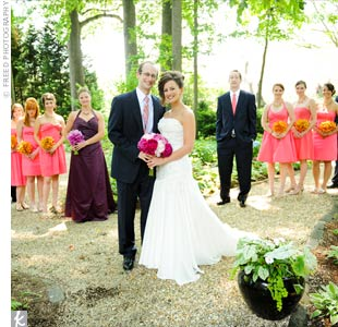 The bride chose the color of the bridesmaid dresses (tea rose) and left the styles up to the ladies. Cindys sister, the maid of honor, complemented the look with an eggplant-colored halter dress. The guys wore navy suits with pink-and-blue ties.