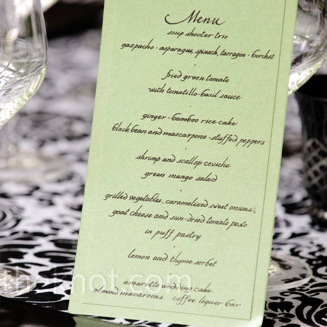 Green menu cards played off the black-and-white linens and table settings.