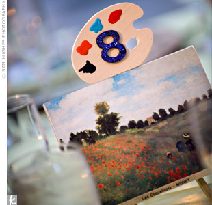 The bride's mother used postcard-sized photos of famous paintings and displayed them in miniature easels. She painted each table number on a tiny painter's palette as a nod to the great works displayed in the museum.