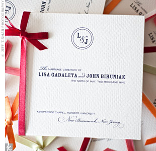 An assortment of red, honeydew green, coral, and orange ribbons bound the homemade programs. The first page featured a lyric from the band Sigur Rós, which was also included in the couples' vows. On the last page, Lisa and John dedicated the altar arrangements to their late grandfathers.