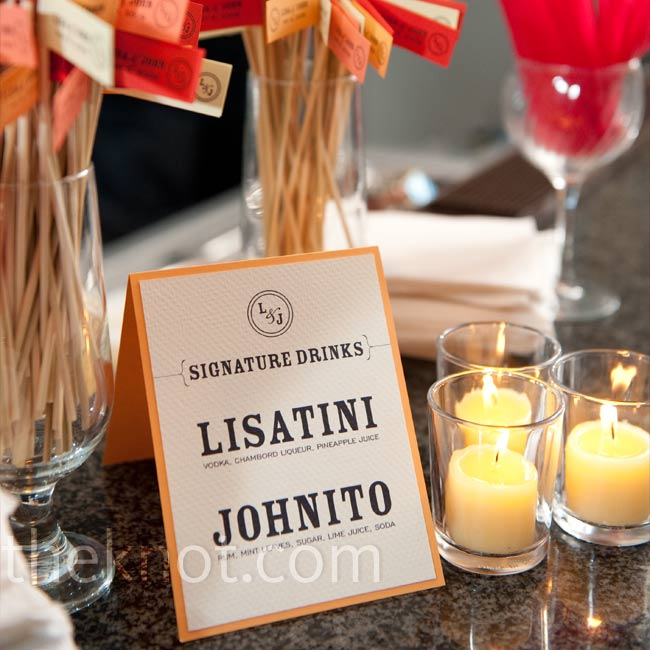 "Guests sipped on ""Lisatinis"" (Chambord, pineapple juice, and vodka) and ""Johnitos"" (a traditional mojito) during the cocktail hour. Each drink came with stirrers printed with the couple's names, logo, and wedding date."