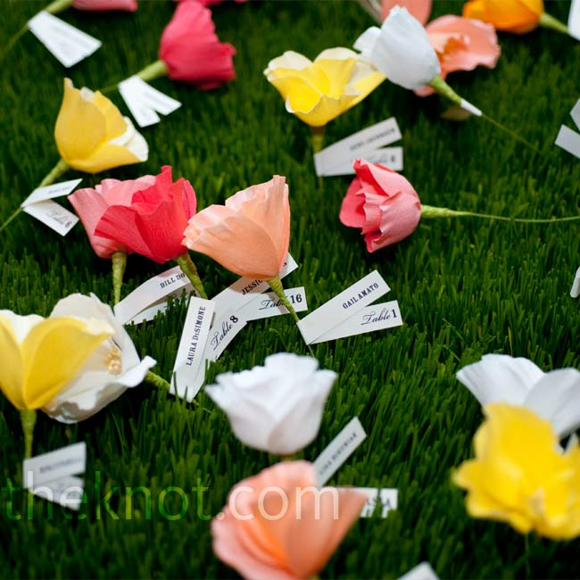 "Handmade crepe paper poppies in eight different colors were ""planted"" in three flats of wheat grass. A paper ribbon tied around each stem was printed with guests' names and table assignments."