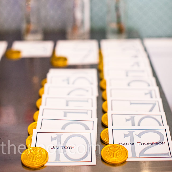 Keeping with the New York City theme, Erganic Design created chic escort cards adorned with chocolates that looked like vintage subway tokens.