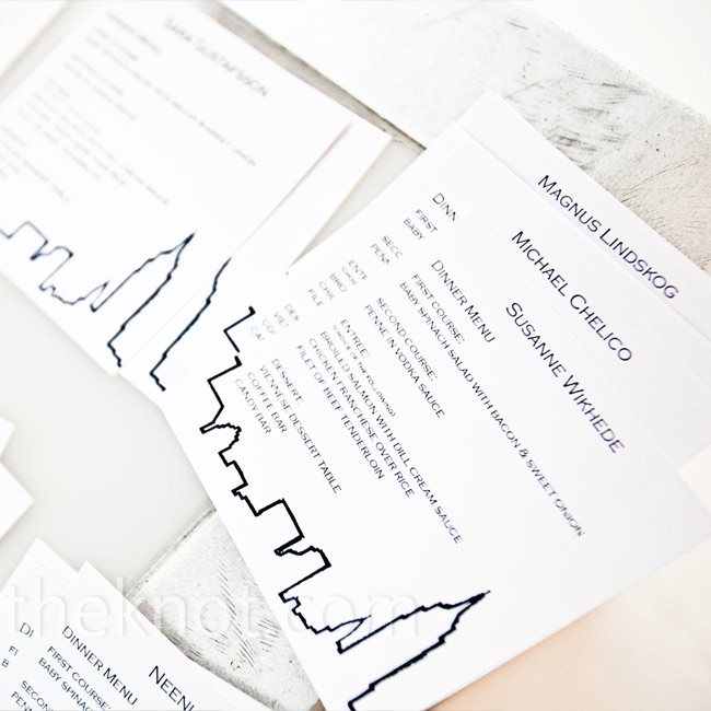 Printed menu cards displayed the guests names, serving as seat indicators. Alicia and Erik chose to separate couples and seat everyone at random, forcing people out of their comfort zones and allowing for new friendships to be made.
