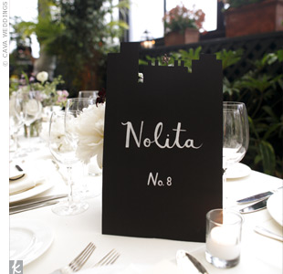Tables were named after New York City neighborhoods and labled with chic black and white tented signs.