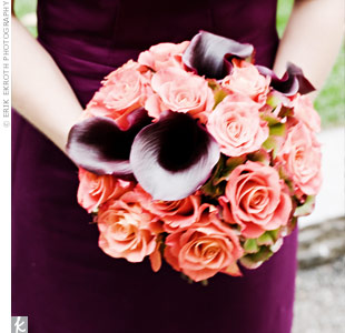 The matron of honor carried deep purple calla lilies and orange roses, which played against her plum dress.