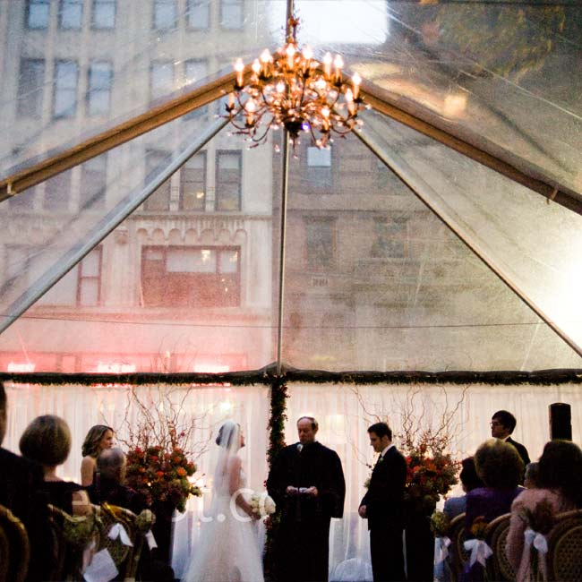 The couple chose to have two ceremonies: the first was a non-denominational civil ceremony at Bryant Park on Saturday, and the second was a Greek Orthodox ceremony on Sunday.
