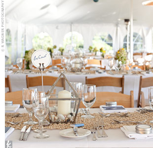 Gabrielle and Michael wanted a casual but elegant wedding, so they picked muted colors that seemed fitting for the seaside town of Montauk: a sandy brown and a breezy blue.