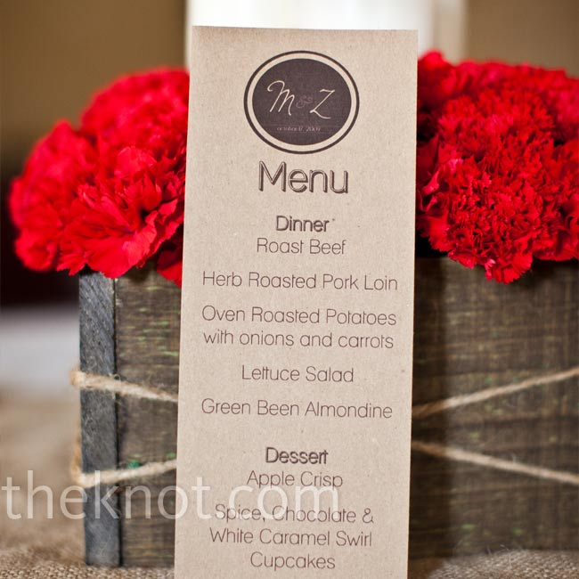 Maggie used photo software to design a monogram-style logo and used it on the menu cards.