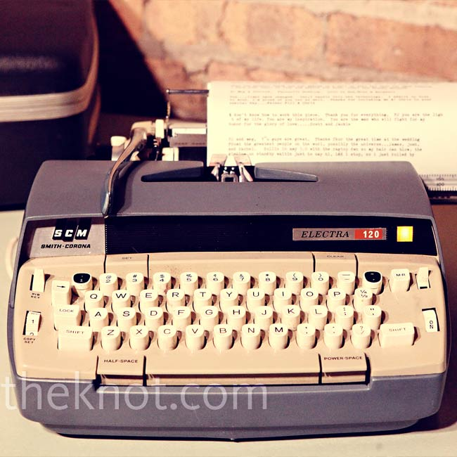 Instead of a traditional guest book, the couple asked friends and family to leave them notes using an old-school typewriter. Megan loves going back to read them, especially because of all the typos. (Typewriters didn't have backspace keys!)