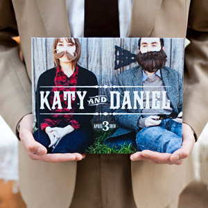 Fun photos from the couple's engagement shoot were bound into a book for guests to sign.