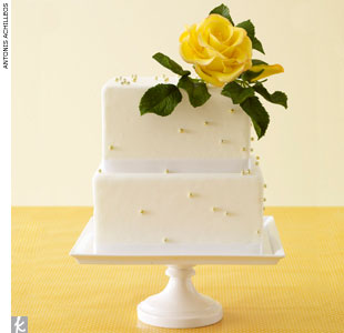 Yellow fondant wedding cake accented with gold dragées and a sugar rose by Ruth Drennan Cakes, RuthDrennanCakes.com