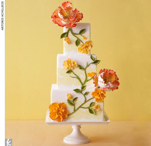 Square wedding cake with oversized sugar flowers and yellow lace-like trim by Truli Confectionary Arts, TruliConfectionaryArts.com