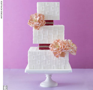 Woven fondant wedding cake with pink sugar-made peonies by Mark Joseph Cakes, MarkJosephCakes.com